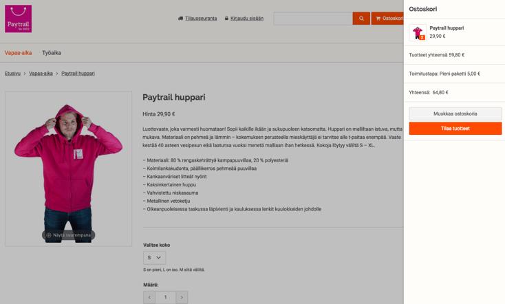 MyCashflow-verkkokaupan ulkoasu