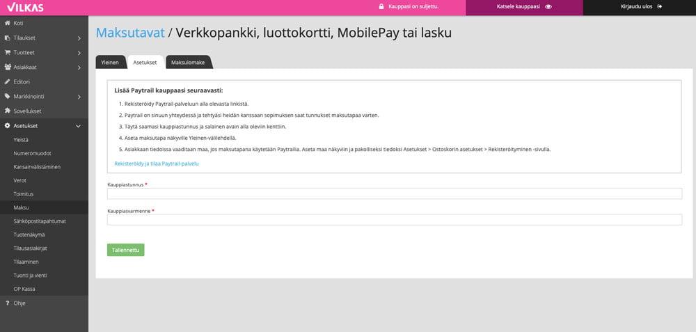 Vilkas paytrail maksutapojen lisääminen verkkokauppaan