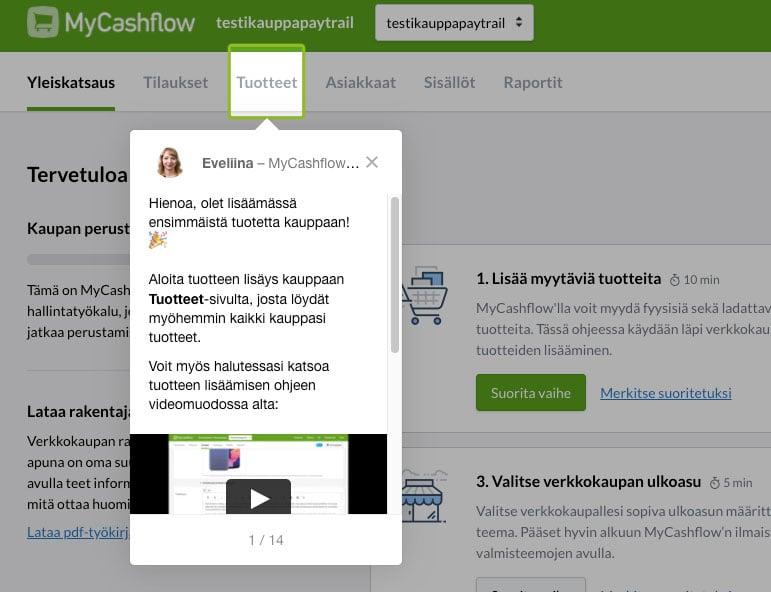 Testissä MyCashflow-verkkokauppa-alusta